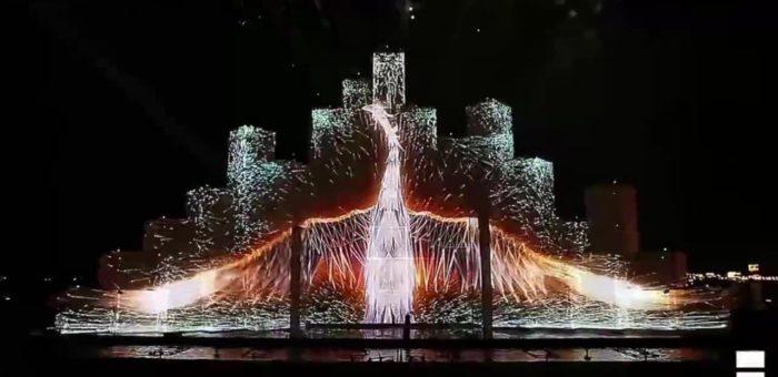 Маппинг шоу на старте обратного отсчета начала первых Европейских Олимпийских игр в Баку